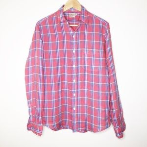 Faherty button down linen plaid long sleeve top